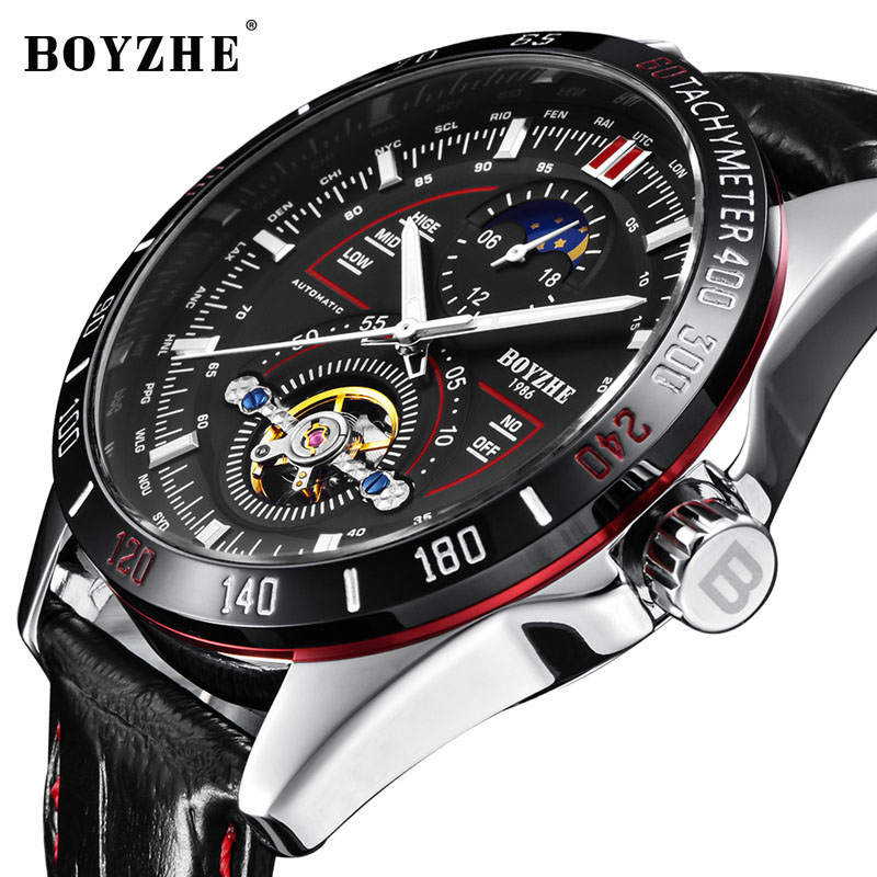 BOYZHE Luxury Men Watches Waterproof Automatic Watch Military Mechanical Tourbillion Moon Phase Mens Wrist Watches Man Clock