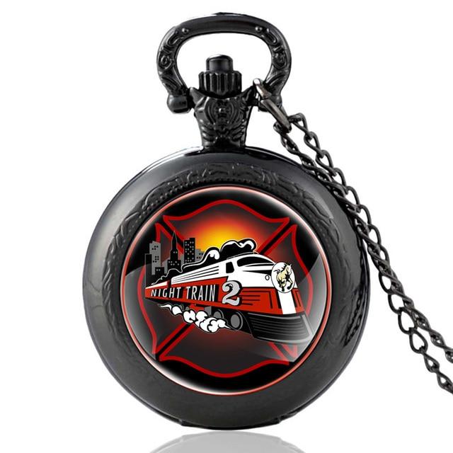 New Arrivals Black Fire Fighters Control Night Train 2 Quartz Pocket Watch Vinta