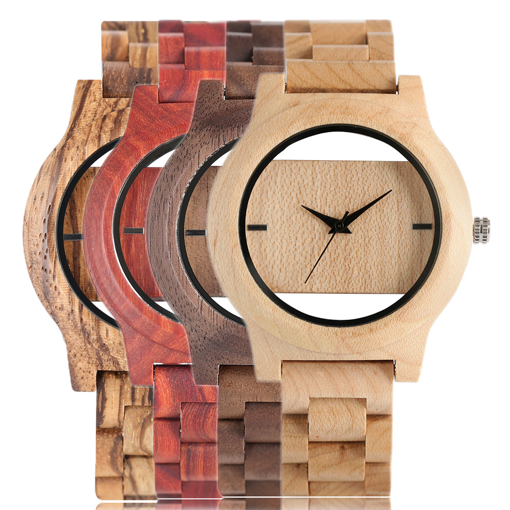 2017 New Arrival Luxury Full Wood Strap Wrist Watch Men Wooden Bamboo Unique Hollow Dial Quartz Watches Gifts Handmade Nature fashion analog full wooden bamboo women creative watches novel nature wood men bangle quartz wrist watch 2017 new arrival