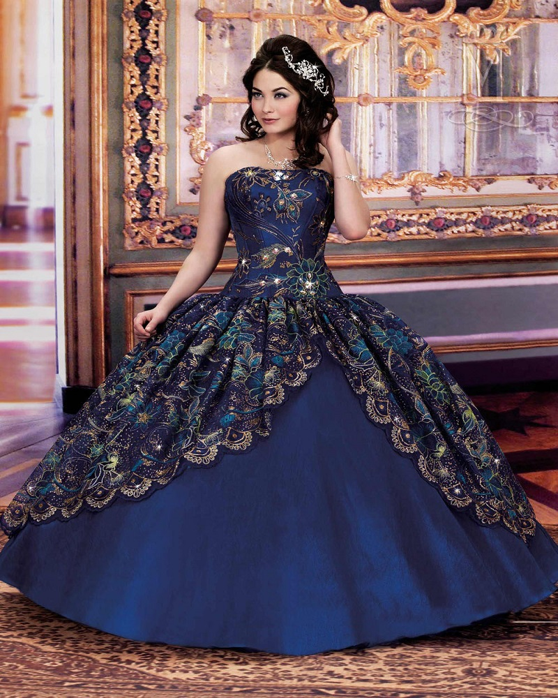 Popular Navy Blue and Gold Quinceanera Dresses-Buy Cheap Navy Blue ...