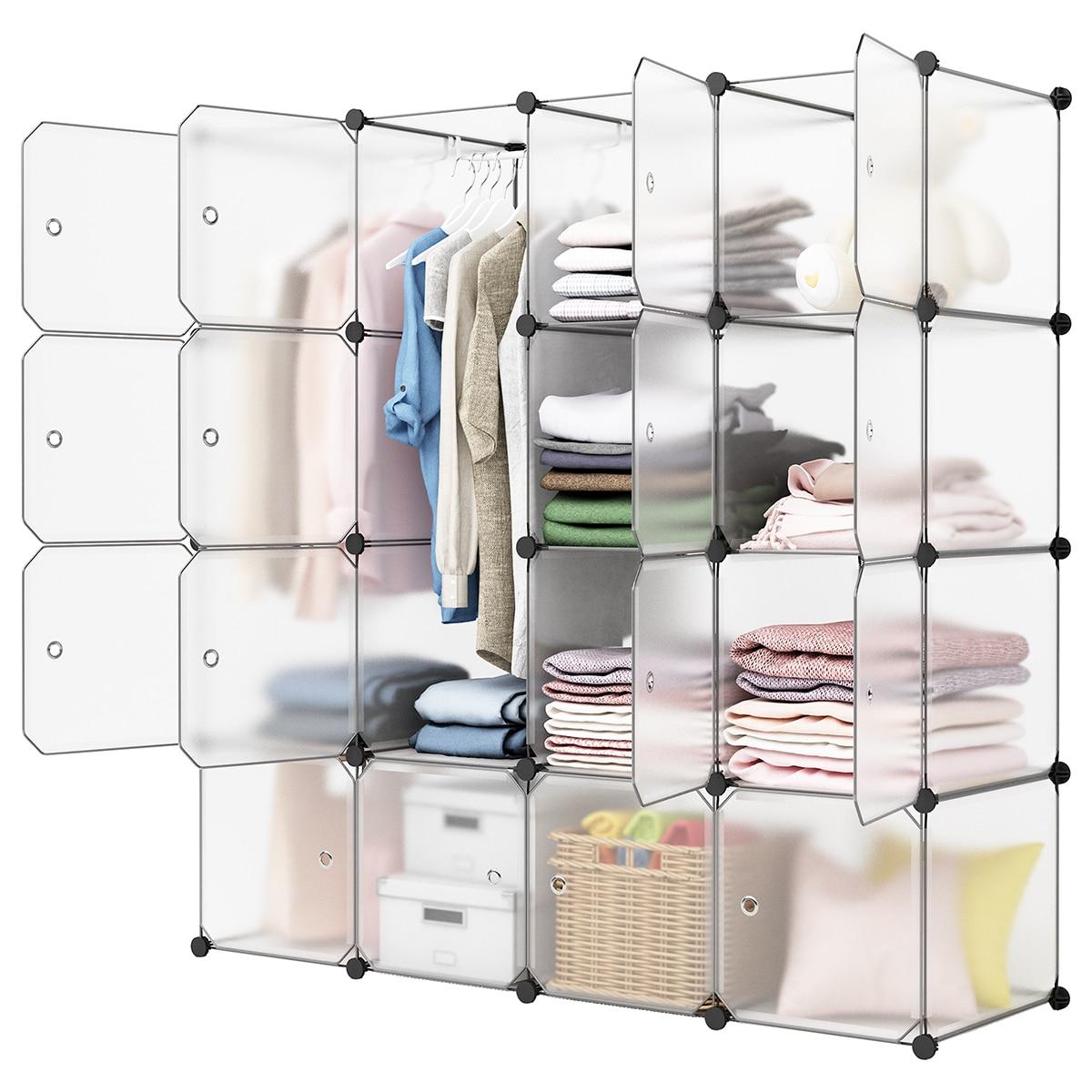 LANGRIA 16-Cube DIY Modular Organizer Modular Storage Organizer Shelving System Closet Wardrobe Rack Transparent(China)