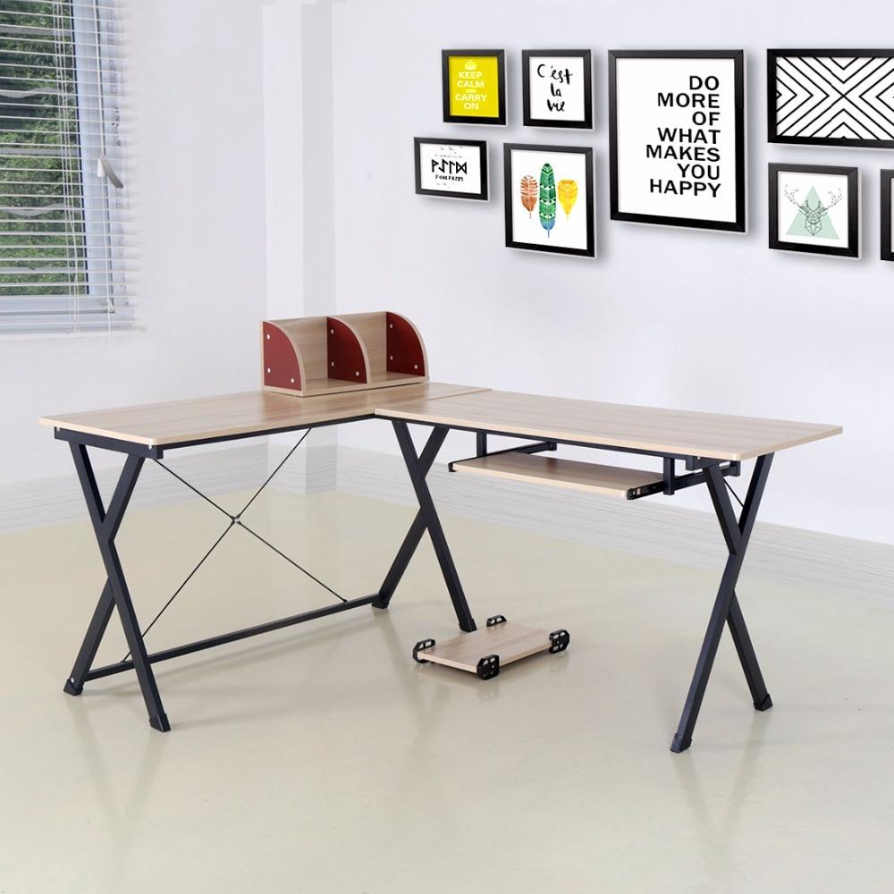 L shaped Computer Workstation Corner Desk Set with Book Shelf Home ...