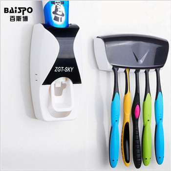 Baispo position automatic toothpaste dispenser toothbrush holder home bathroom products wall mount rack bath set free.jpg 350x350
