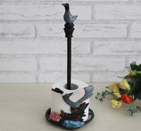 Handicraft Cast Iron Duck Paper Roll Towel Holder Rustic Painting Design Kitchen Living Ware Metal Furniture Decorating
