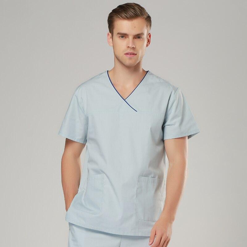 New Men Women Medical Scrub Sets Hospital Doctor Nurse Uniforms Dental Clinic V Neck Short Sleeve Medical Scrubs Nanou 002