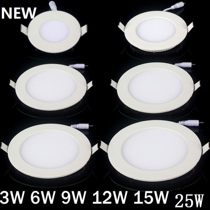 20pcs/lot Dimmable Ultra thin 3W/4W/6W / 9W / 12W / 15W/ 25W LED Ceiling Recessed Grid Downlight / Slim Round/Square Panel Light(China)