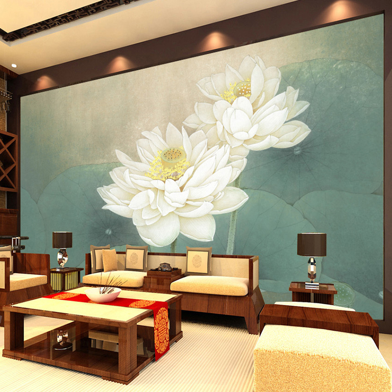 living wall tv background decor mural sofa custom wallmurals lotus restaurant wallpapers