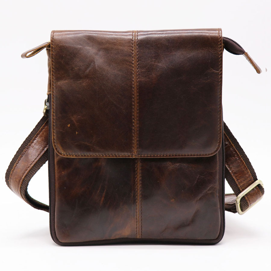 Brand GO-LUCK Natural Genuine Leather Casual Travel Bag Mens Shoulder Messenger Bags Belt Crossing Waist Pack Zipper