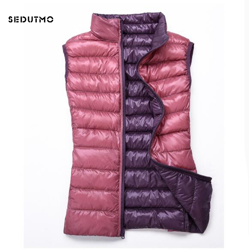 SEDUTMO 2018 Winter Plus Size 3XL Womens Down Jackets Ultra Light Vest Duck Down Coat Short Puffer Jacket Tank Waistcoat ED1237