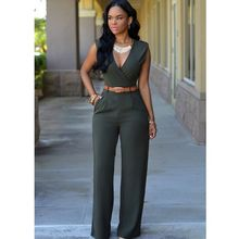63c7206bb76 HXYRTMF 13 Colors Women Solid Sexy V Neck Jumpsuits For Office Lady Slim  Bodysuit