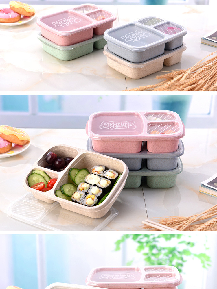 TUUTH Wheat Straw Lunch Box Microwave Food Fruit Container Storage Box For Kids Adult Picnic Fitness Multifunctional Bento2