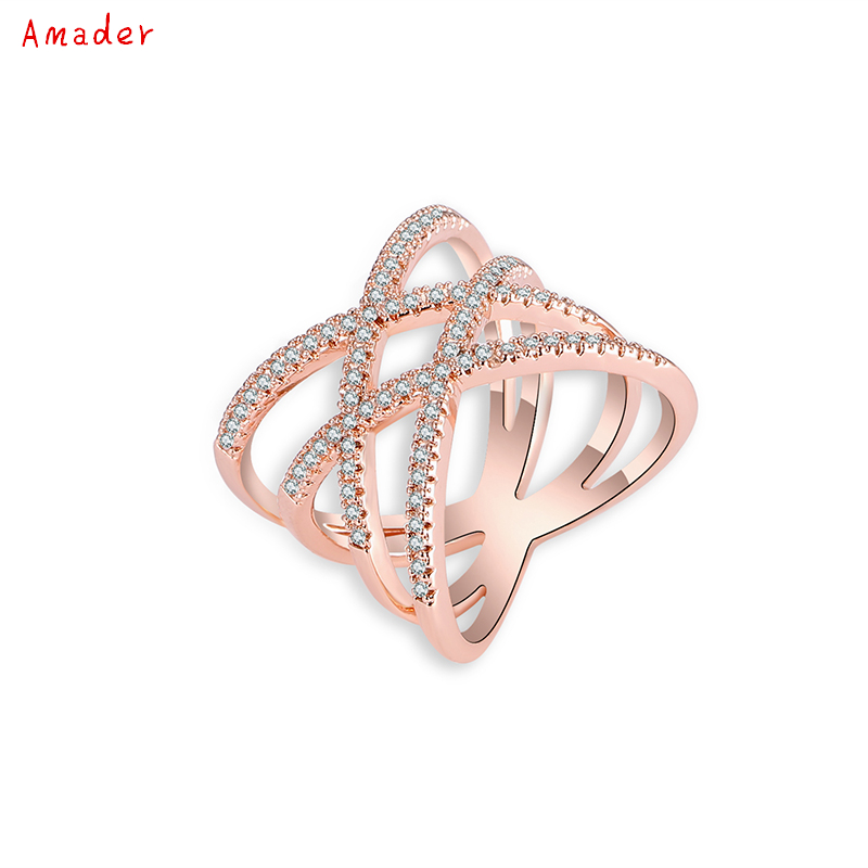Hot sell New Antique Mosaic AAA Zircon Crystal Multilayer Vintage Gold Color Cross Double X Ring Women Finger Luxury Bijoux