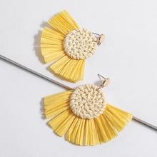 Fan shaped Rattan Earrings For Women Summer Multi colors Raffia Earring Bohemia Natural Earing Jewelry boucles d oreille femme