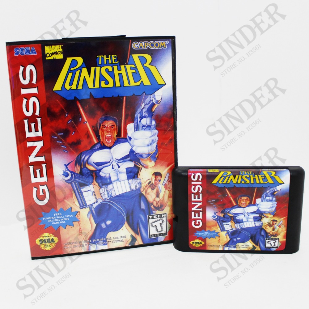 The Punisher Boxed Version 16bit MD Game Card For Sega Mega Drive And Genesis