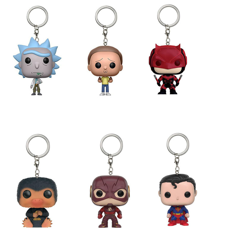 Supernatural Dean Castiel Black Panthers Alien Super Heroes Figure Keychain Deadpool Iron man Thor Loki Morty Ricky Key Chain