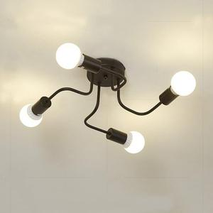 Image 4 - Retro Industrial Loft Nordic Pipe Wrought Iron Ceiling Light 4 Heads Lamp for Home Decor Restaurant Dinning Cafe Bar Room