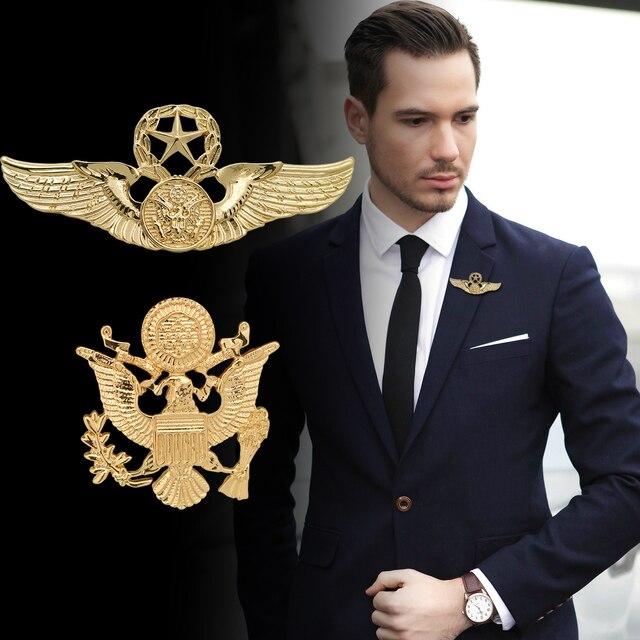 2016 Броши Европейская и американская мода булавка пряжка индивидуальный Ретро жилет двуглавый орел значок мужской костюм брошь
