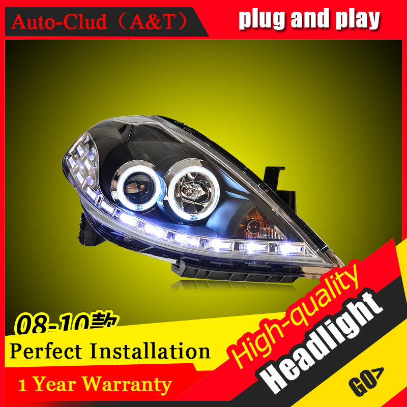 Auto Clud Car Styling For Nissan TIIDA headlights 2008-2010 For TIIDA head lamp led DRL front Bi-Xenon Lens Double Beam HID KIT auto lighting style led head lamp for mazda 3 axe headlights for axela led angle eyes drl h7 hid bi xenon lens low beam