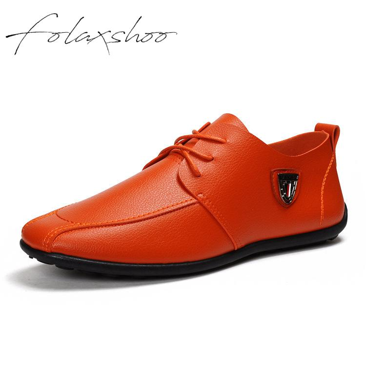 Folaxshoo Lace-Up Spring Autumn Man Shoes Men Loafers Casual Shoes   Leather   Loafers Breathable Casual   Suede   Men Shoe Mens Loafers