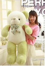 big lovely new plushed Teddy bear toy stuffed light green teddy bear with bow birthday gift about 140cm