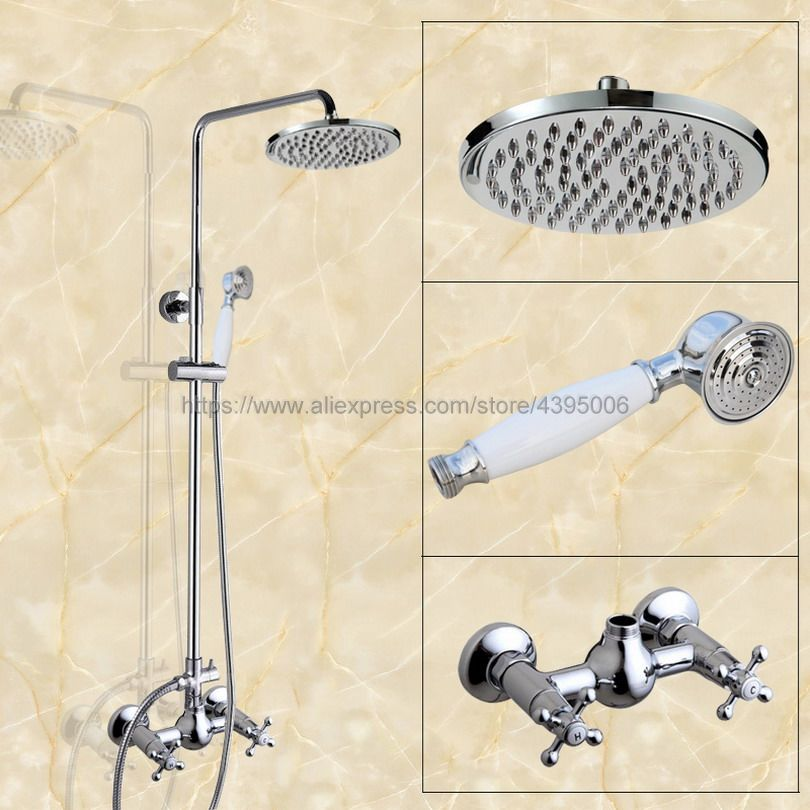 Bathroom Rainfall Shower Faucet Set Mixer Tap With Hand Sprayer Double Handles Wall Mounted chrome Bcy301 poiqihy wall mounted chrome shower faucet bathroom rainfall shower set faucet tub with handheld sprayer bathroom mixer tap