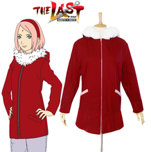 Free Shipping font b Naruto b font The movie The last Sakura Haruno Red Winter Coat
