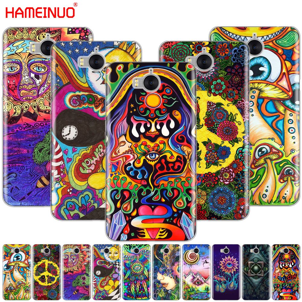 HAMEINUO Psychedelic Art cell phone Cover Case for huawei honor 3C 4X 4C 5C 5X 6 7 Y3 Y6 Y5 2 II Y560 2017