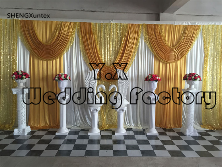 10ft*20ft Nice Looking Backdrop Curtain For Sale Free Shipping - White And Gold & Purple Color Wedding & Engagement10ft*20ft Nice Looking Backdrop Curtain For Sale Free Shipping - White And Gold & Purple Color Wedding & Engagement