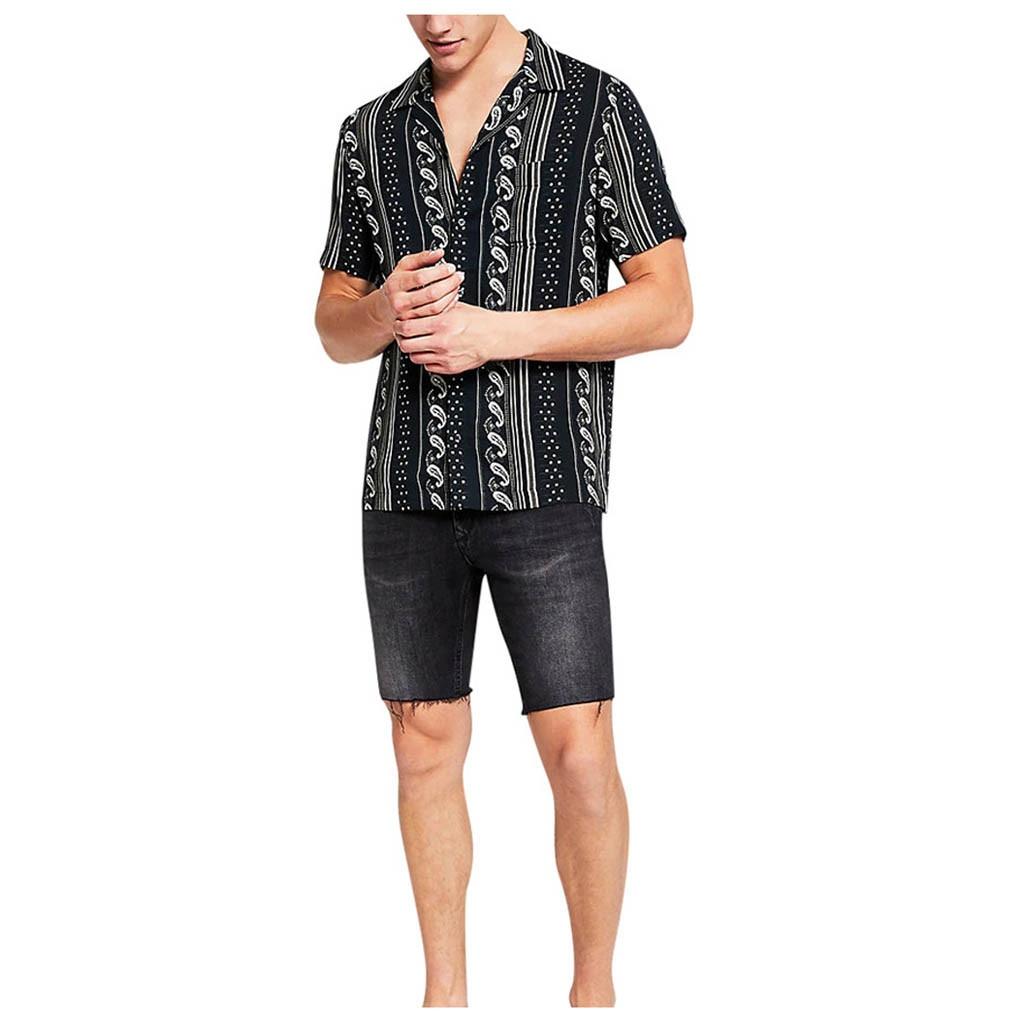 Рубашки мужские летние повседневные рубашки с отворотами и принтом рубашки с коротким рукавом мужские топы пляжные мужские рубашки Женска...