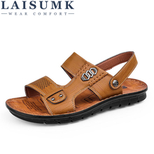 2019 LAISUMK New Summer Shoes Genuine Leather Sandals Fashion Men Casual High Quality Free Shipping
