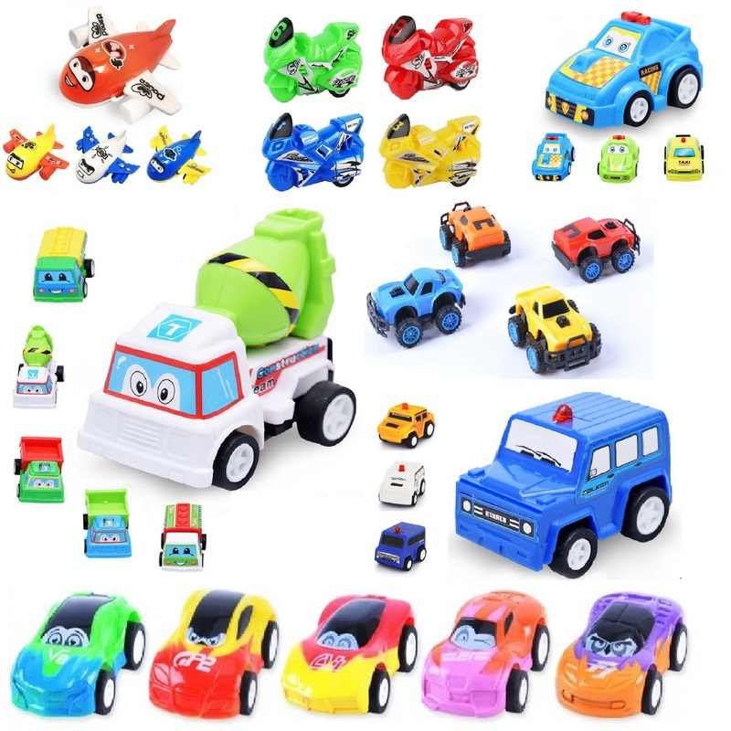 Geri çekin Racer mühendis araba uçak motosiklet Mini plastik araba çocuklar doğum günü partisi hediye oyuncaklar çocuklar için kızlar klasik araç oyuncak