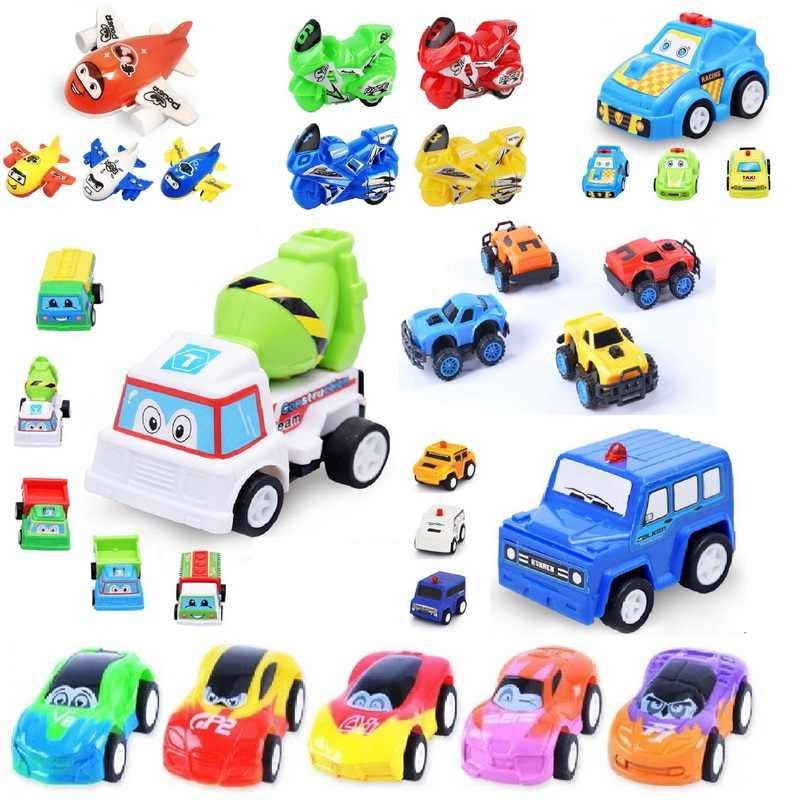 Pull Back Racer engineer coche avión motocicleta Mini plástico coche niños fiesta de cumpleaños regalo juguetes para niños niñas vehículo clásico juguete