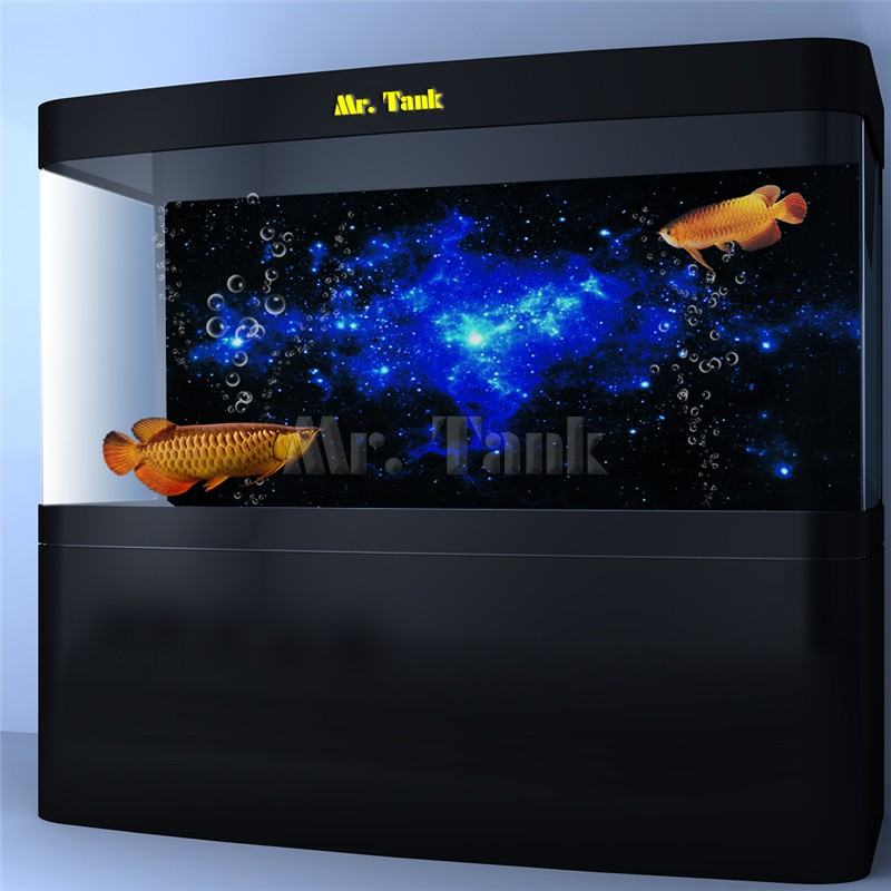 Decorations Fish & Aquariums Creative Star Dust Galaxy Aquarium Background Poster Fish Tank Landscape Decoration