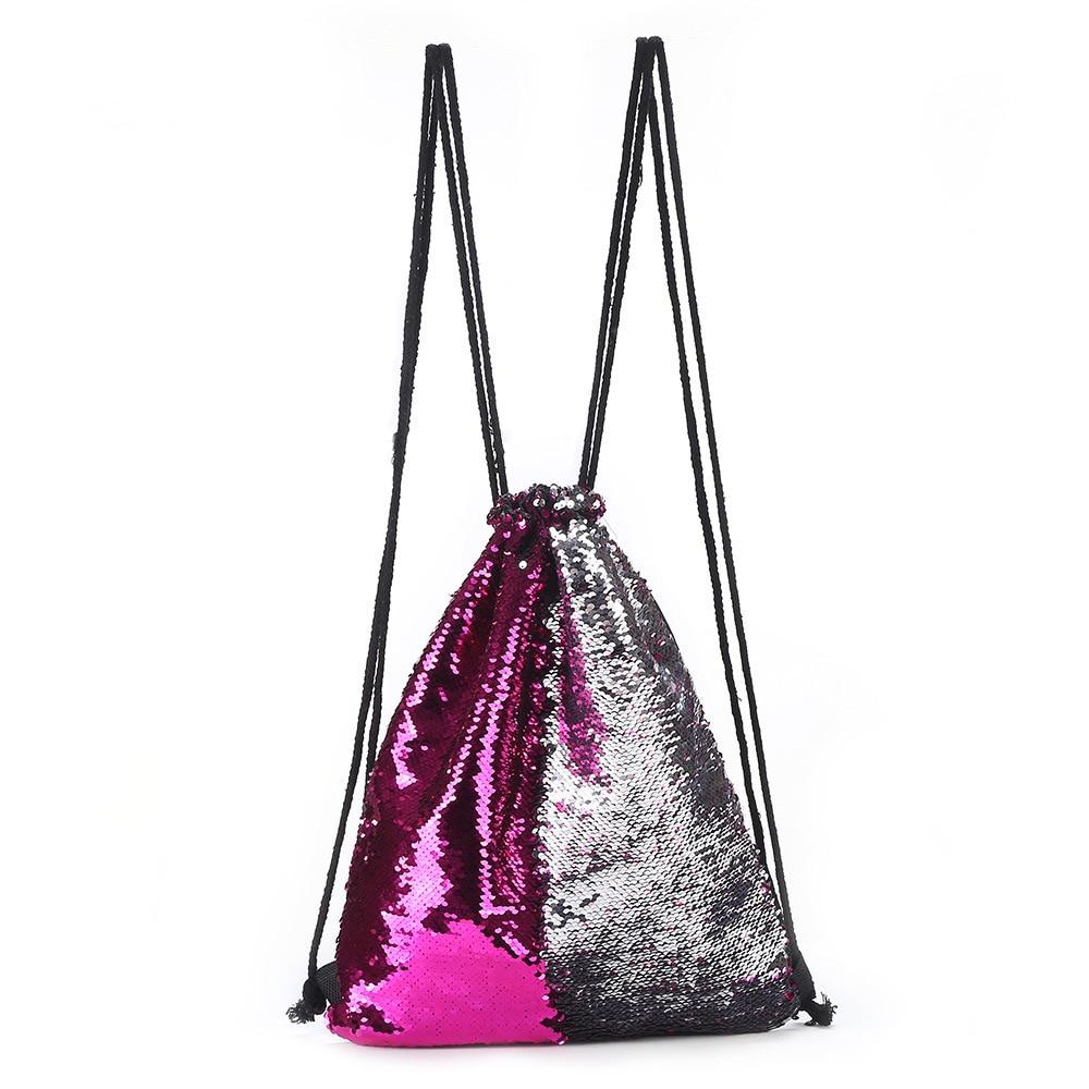 Reversible Glitter Drawstring Bags Women Sequins String Backpack Travel Sports School Backpack