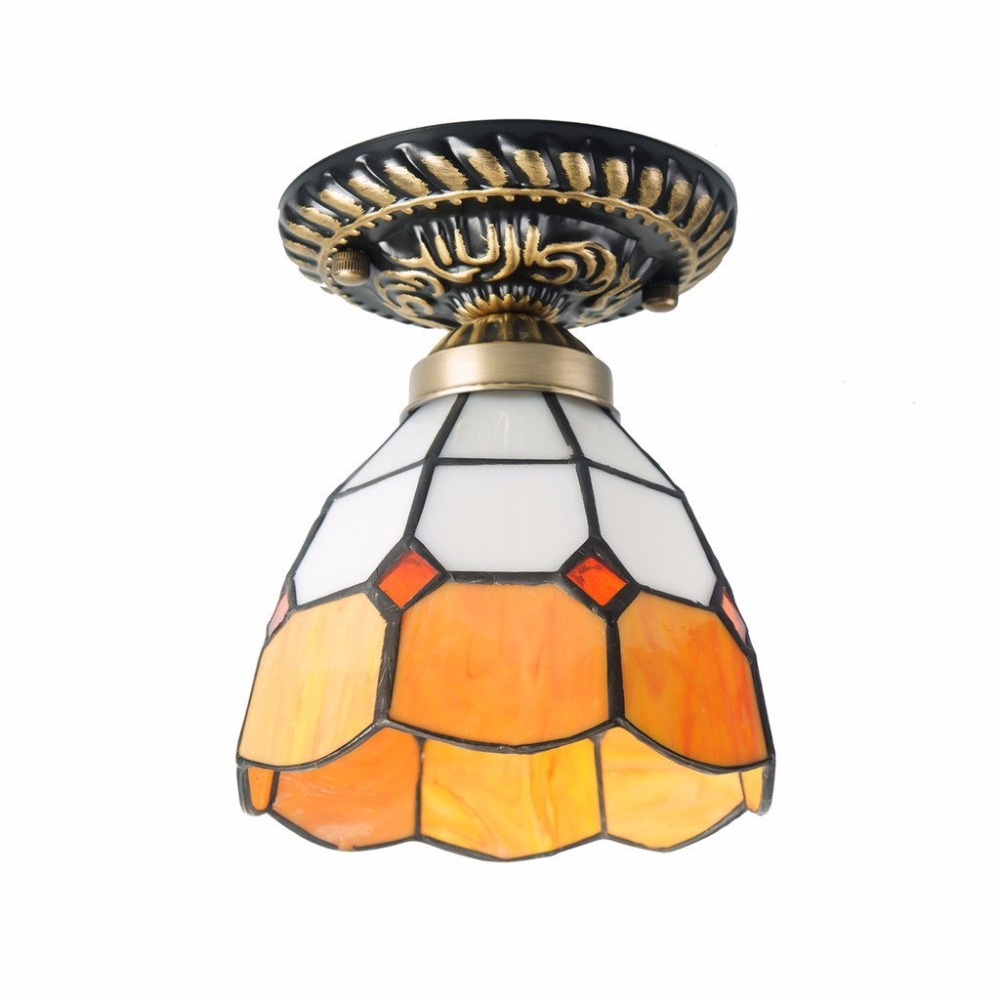 Stained Glass Light Shade Mediterranean Style Ceiling Lamps for Bedrooms Shade Glass Ceiling Lamp Art Deco glass deco glass deco s g6