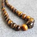 Regalo de las mujeres palabra Amor Joyería Moda mujer venta Caliente 6-14mm Tiger eyes piedras beads niñas mujeres Collar de cuentas de jaspe 18 pulgadas 2 unid/