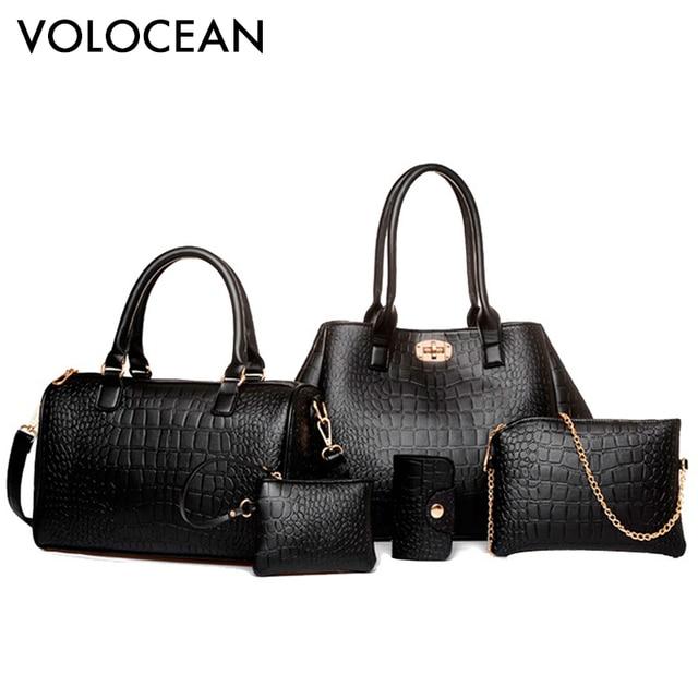 2a1bf2aac7 Volocean Brand 2017 Luxury New Women Bags 5 Pieces Set Women s Handbags  Alligator Composite Bag Ladies Female Bag