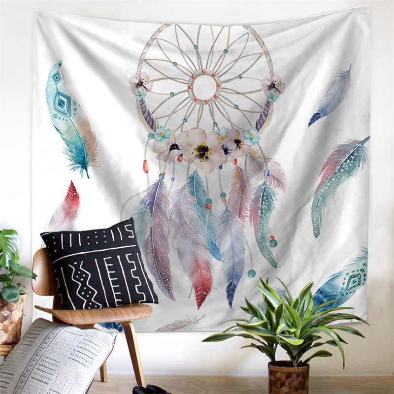 Feather Curtain Window Drape Wall Tapestry for living Room Beach Towel Bed account Sofa sets Table Cloth Picnic Mats Su394 *30