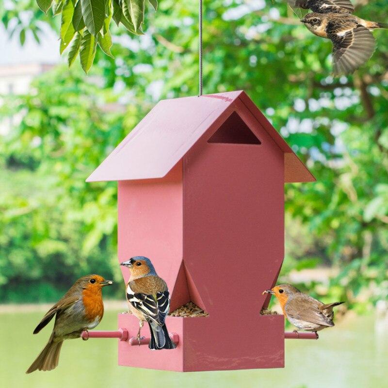 Mangeoire pour oiseaux en plein air en métal rose mangeoire pour oiseaux suspendus mangeoire équipement pour oiseaux conteneurs d'alimentation pour oiseaux ZP3301744