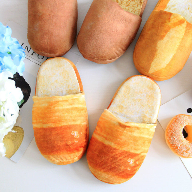 One size 2017 New Style individuality simulation bread lovers adult slippers at home indoor floor for bedroom women shoes