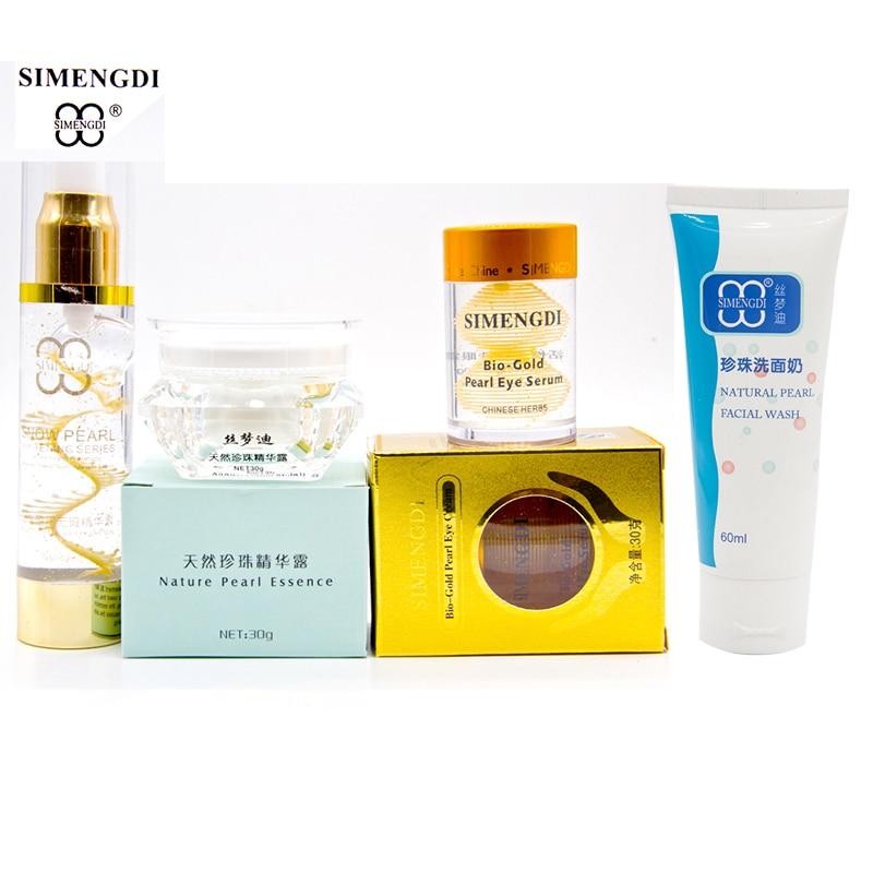 SIMENGDI Pearl Wrinlk Removel Essence+Pearl Peptide Argireline Serum+Bio gold Pearl eye Serum rejuvenation+Pearl Facial Cleanser