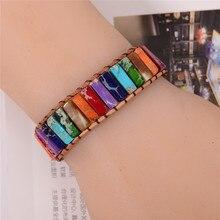 Boho натуральный обхватываемый браслет с камнями браслет чакра дропшиппинг один кожаный обёрточная Бумага браслет мощность
