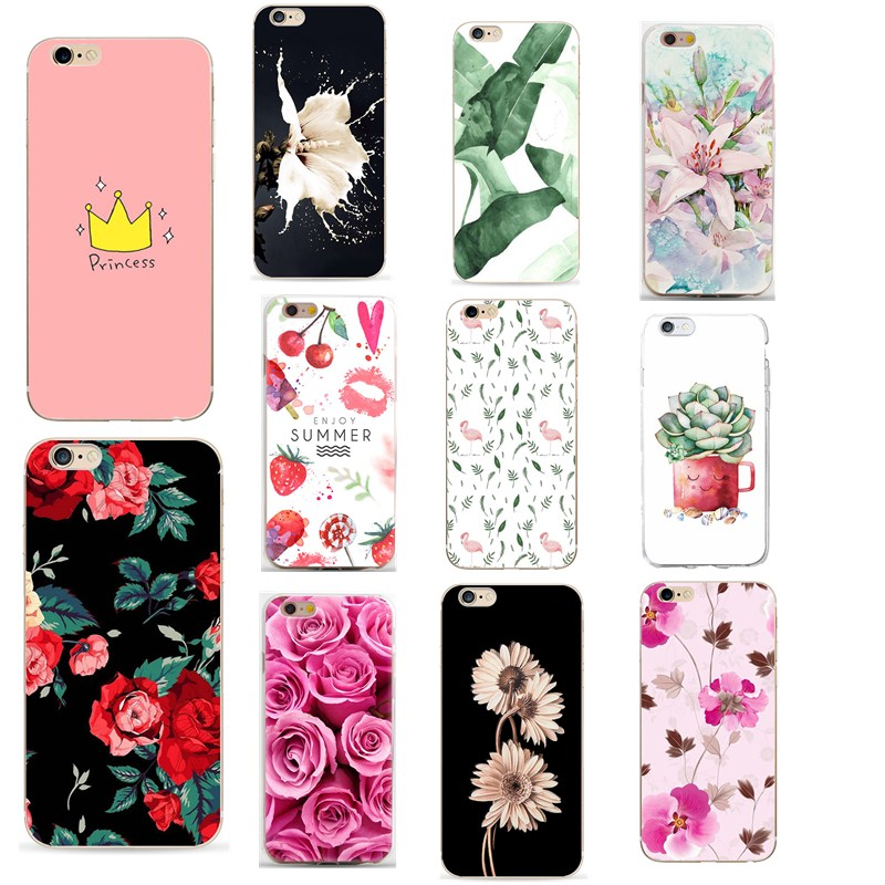 Case Of Leaves On Print For Apple iPhone 7 Plus 5 5S 6 6S 7 8 Plus Cases For Women Luxury Floral Rose Back Cover Fundas Capa