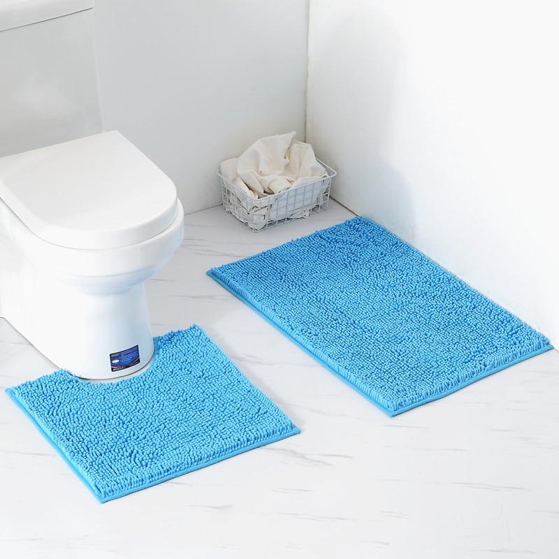2 pçs/set Conjunto Mat Banheiro Tapete Chenille capacho Anti-Slip Esteira de Banho Tapete de Cozinha Tapete de Banho Toliet Lavável Tapete Banheiro