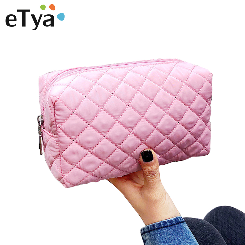 ETya Portable Travel Cosmetic Bag Phone Storage Case Women Travel Organizer Beauty Make Up Pouch Makeup Bag Toiletry Wash Bags