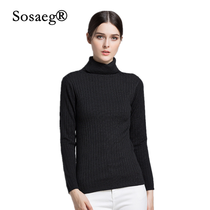 Sosaeg Autumn Winter Women Pullovers Sweater Knitted Elasticity Casual Jumper Fashion Slim Turtleneck Warm Female Sweaters S XL