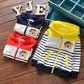 2016 primavera do bebê das meninas dos meninos de manga longa crianças casaco com capuz stripe esporte outwear crianças dos desenhos animados camisola ao ar livre