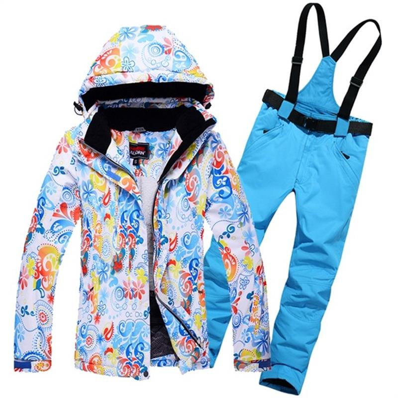 Women Skiing Jackets And Pants Warm Women's Snow Snowboard Clothes Waterproof Windproof Winter Dress Ski Suits Set For Female 2016 new skiing jackets and pants winter women snow suit sets windproof waterproof breathable women skiing suit warm