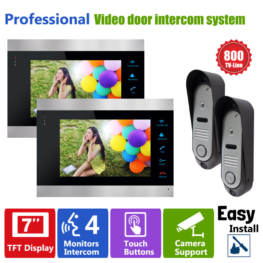 Homefong 7 Inch TFT Video Door Phone Doorbell Video Camera 800TVL 2V2 Door Access Control camera intercom system 2 Monitor