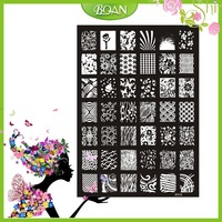 10PCs New Design BQAN Stainless Steel Butterflies/Flower Series/Glistened Star Images Nail Plate Stamping XY13
